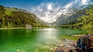Nature, Landscape, Lake, Mountain, Forest, Clouds, Summer