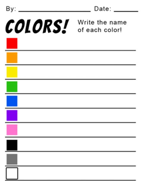 write in color let s color write the names worksheets