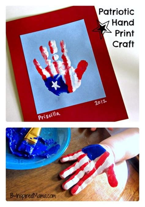 10 patriotic preschool crafts for the 4th of july 545 | patriotic hand print kid craft