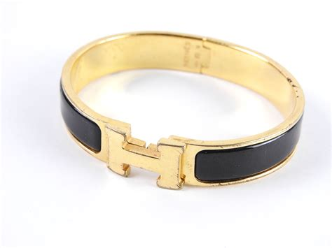 auth hermes clic clac pm h bangle bracelet enamel black gold plated a 4554 ebay