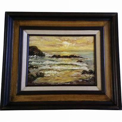 Seascape Sunset Painting Oil Canvas Artist Signed