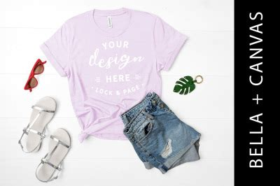 Your resource to discover and connect with designers worldwide. Heather Lilac Bella Canvas 3001 Cool TShirt Mockup For ...
