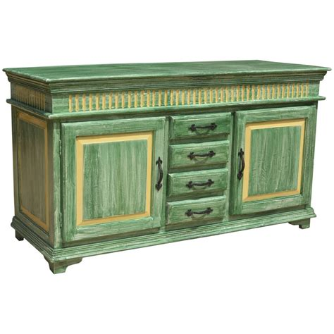 credenza buffet oklahoma farmhouse distressed painted 4 drawer sideboard
