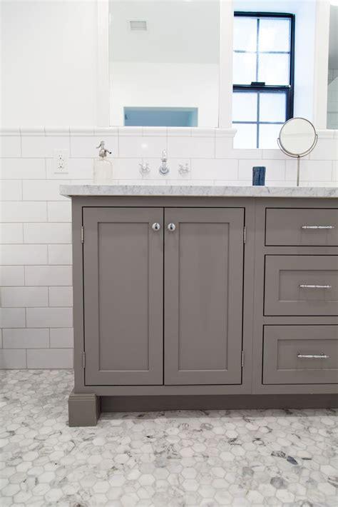 grey shaker style vanity  inset doors  rafterhouse