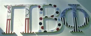red blue and black stripes dots paisley greek wood letters With large wooden letter patterns
