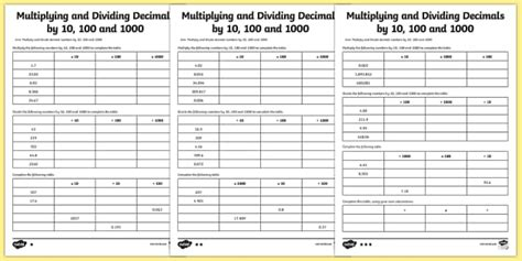multiplying and dividing decimals by 10 100 1000 worksheet