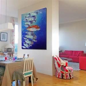 Tableau Contemporain Grand Format : banc de poissons peinture grand format vertical 180x120 cm ~ Teatrodelosmanantiales.com Idées de Décoration