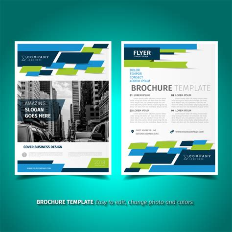 Blue And Green Vector Brochure Flyer Design Template Green And Blue Brochure Flyer Design Template