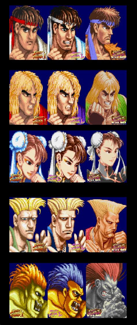 Street Fighter 2 Character Portrait Evolutions From Ww To