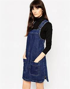 ASOS   ASOS Denim Pinafore Dress With Patch Pockets In Rich Blue
