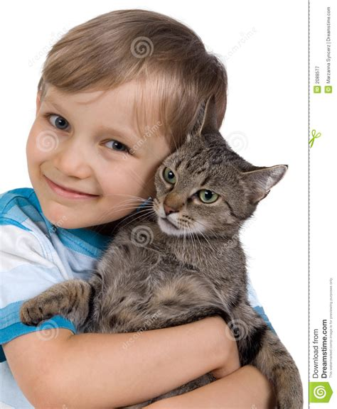 Boy Hugging Cat Stock Image Image Of Cuddle, Affection