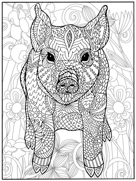 Pig and flowers Pigs Adult Coloring Pages