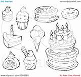 Coloring Dessert Desserts Pages Cakes Ice Cream Clipart Outlined Illustration Visekart Vector Royalty Within Desert sketch template