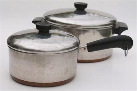 vintage revere ware copper clad bottom stainless  qt saucepan   qt stock pot  lids