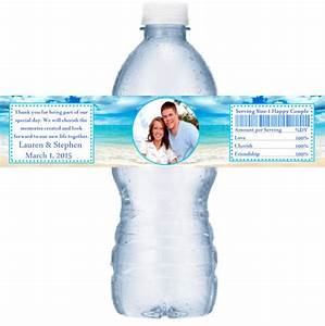 49 personalized photo beach scene wedding water bottle With beach wedding water bottle labels