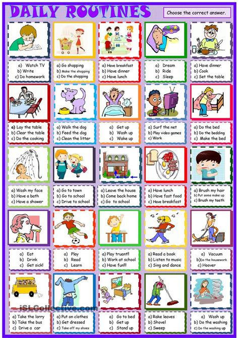 daily routines  multiple choice activity daily