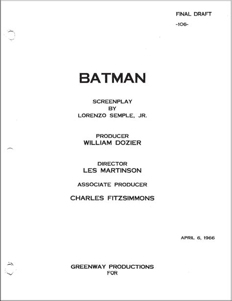 Tv Script Template For Pages by Batman 1966 Screenplay Cover Know It All Joe