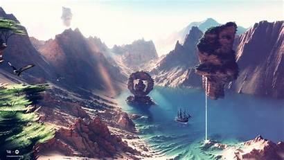 Fantasy Landscape Artwork Lake Planet Mountain Land