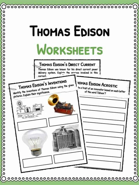 thomas edison facts biography information worksheets