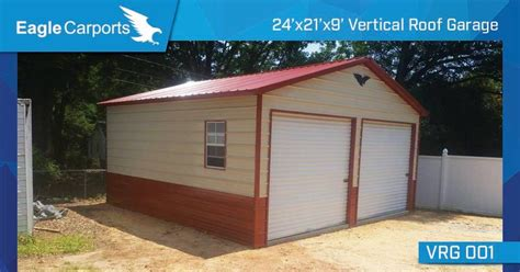 Eagle Carports Complaints by 24x30x9 Vertical Roof Side Entry Garage With Two 9x8 Roll