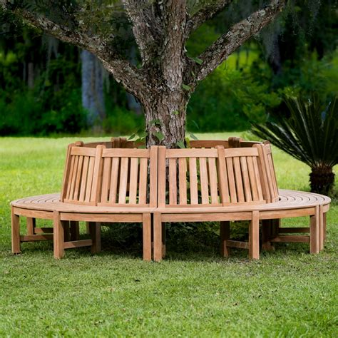 westminster teak tree trunk bench surrounds tree