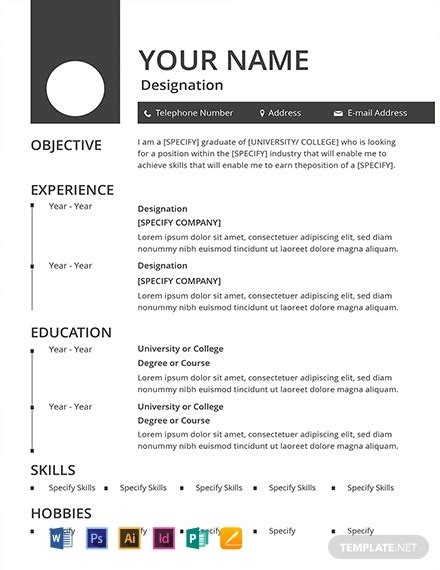 blank resume template word psd indesign apple