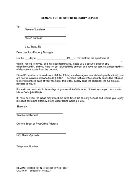sle letter to tenant keeping security deposit how to