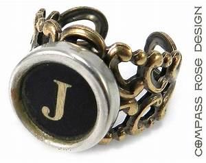 vintage typewriter key ring steampunk ring letter j With letter j ring