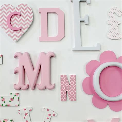 pink mix full   alphabet wall set  wooden letters
