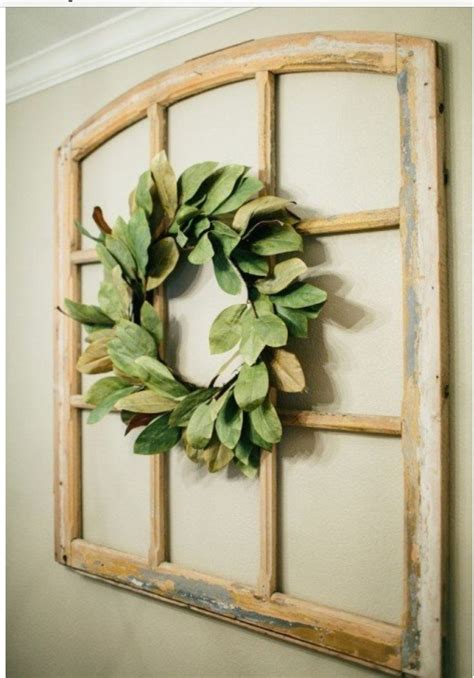 fixer upper magnolia wreath   window pane