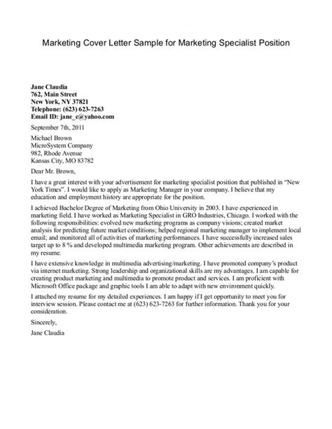 resume exles templates marketing cover letter sle