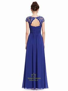 Royal Blue Chiffon Evening Dress With Illusion Lace And ...