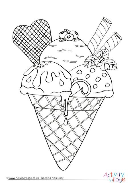 ice cream colouring page