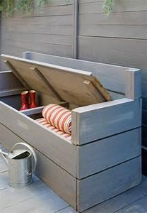 Coffre De Terrasse : voici nos exemples pour un banc de jardin bricolage outdoor garden bench garden storage ~ Melissatoandfro.com Idées de Décoration