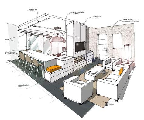 cuisine ouvert sur salon cuisine ouverte sur salon blanc croquis architecture