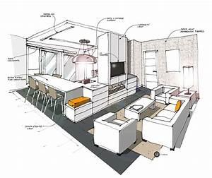 cuisine ouverte sur salon blanc croquis architecture With cuisine ouverte sur salon