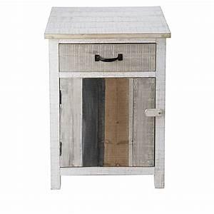 Table De Chevet Bois : table de chevet 1 porte 1 tiroir en sapin blanchi noirmoutier maisons du monde ~ Teatrodelosmanantiales.com Idées de Décoration