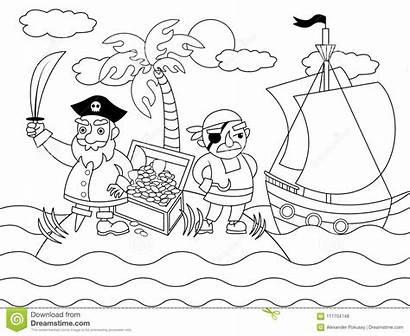 Pirates Cartoon Coloring Island Illustrazione Fumetto Coloritura
