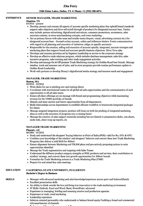 Trade Marketing Resume by Manager Trade Marketing Resume Sles Velvet