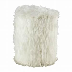 Pouf Fourrure Blanc : tabouret en fausse fourrure blanc alaska maisons du monde ~ Teatrodelosmanantiales.com Idées de Décoration
