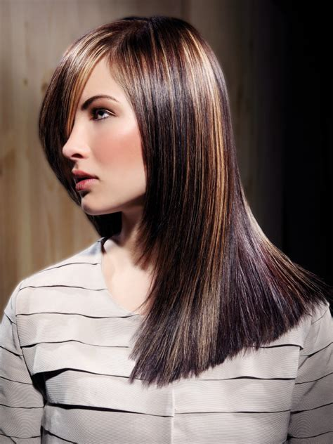 sleek long hair tapered from the chin down side view