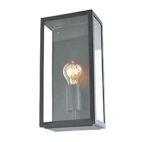 zinc minerva black metal framed box lantern 60w outdoor wall lights screwfix