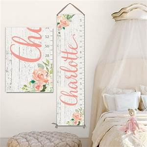 Blush Canvas Growth Chart Wood Image Growth Chart