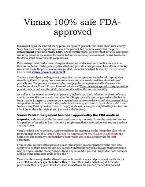 vimax 100 safe fda approved