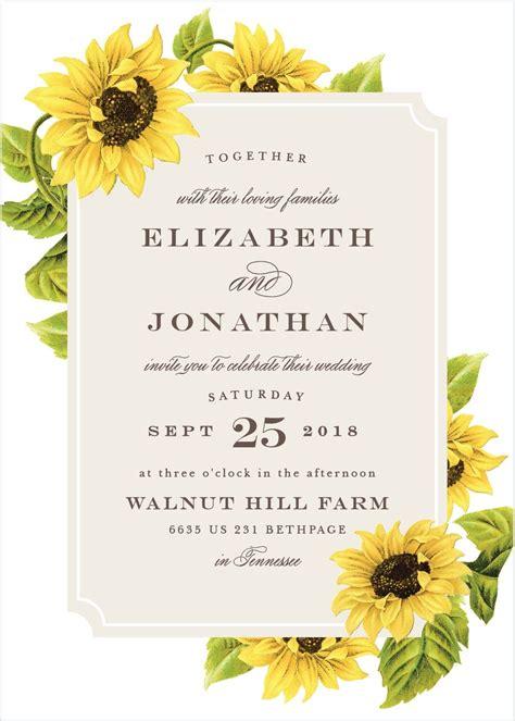 sunflower frame wedding invitations   sunflower