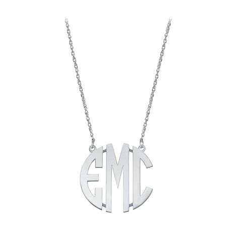 small sterling silver block letter monogram necklace necklaces