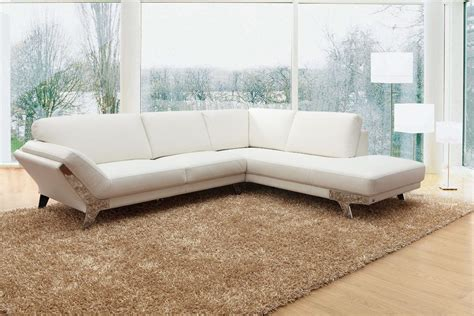 Modern White Italian Leather Sectional