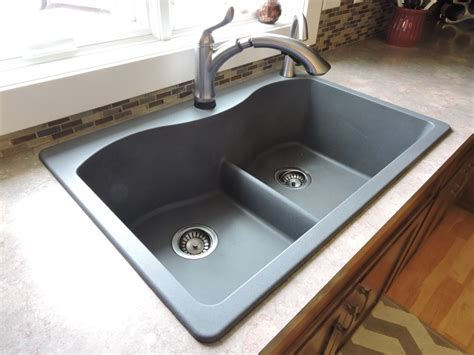 double sink granite countertop double top mount farmhouse kitchen sink on brown granite