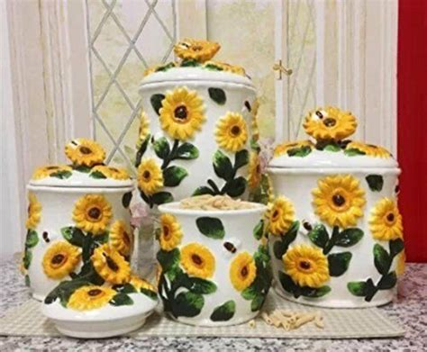 Sunflower Canister Sets Kitchen by 3 D Sunflower 4 Canisters Set 83001 New Ebay