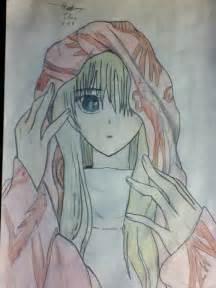 Anime Girl with Hoodie Drawing